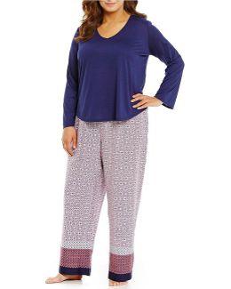 Pink Label Plus Border-print Pajamas