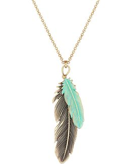 Patina Feather Pendant Necklace