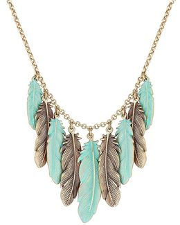 Patina Feather Collar Necklace