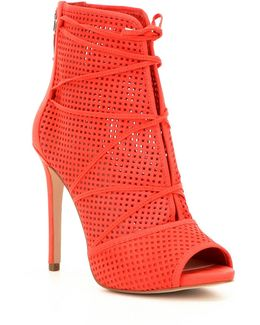 Ayanae Perforated Leather Peep-toe Stiletto Shooties