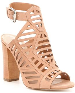 Essty Leather Caged Ankle Strap Block Heel Dress Sandals