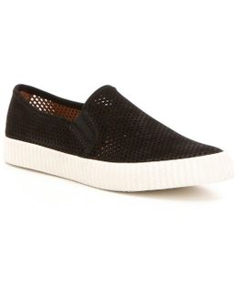 Camille Perforated Nubuck Leather Slip On Sneakers