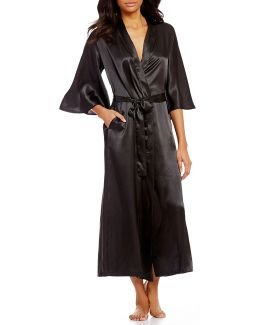 Pink Label Long Charmeuse Wrap Robe