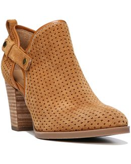 Dakota Side Cutout Perforated Suede Booties