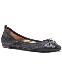 Nalan2 Perforated Leather Bow Detail Ballet Flats