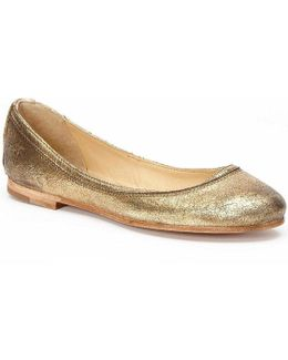 Carson Cracked Metallic Suede Ballet Flats