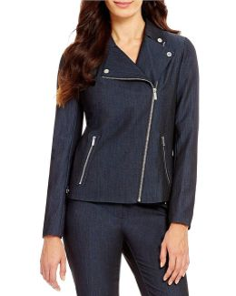 Luxe Stretch Dressy Denim Suiting Asymmetric Zip Moto Jacket