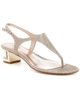 Cassidy Metallic Block Heel Dress Sandals
