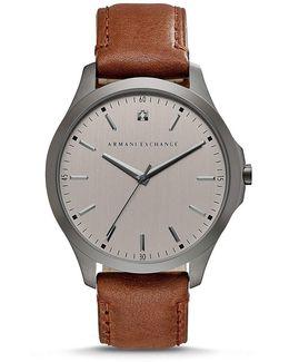 Ax Armani Exchange Hampton Analog Leather-strap Watch