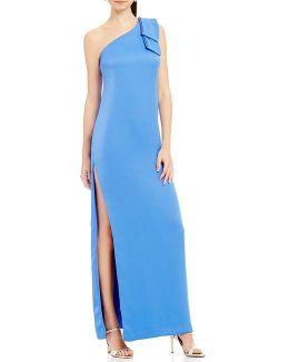 Bow-shoulder Crepe Gown