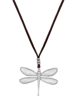 Reversible Mother-of-pearl & Abalone Dragonfly Pendant Necklace