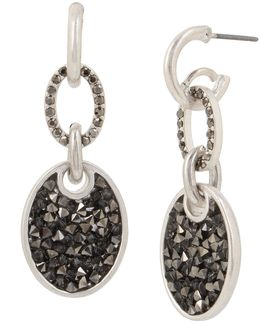 Sprinkle Stone Oval Drop Earrings