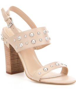 Cheree2 Leather Studded Slingback Block Heel Sandals