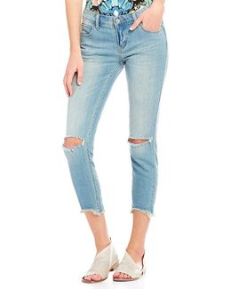 Frayed Hem Skinny Destroyed Ankle Jeans