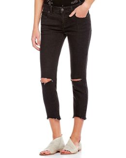 Frayed Hem Destroyed Skinny Ankle Jeans