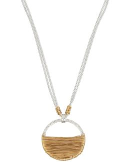 Wire-wrapped Open Circle Pendant Necklace