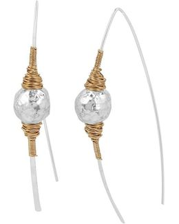 Sculptural Bead Wire-wrapped Stick Linear Drop Earrings
