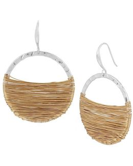 Wire-wrapped Drop Hoop Earrings