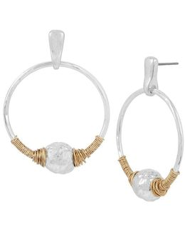 Sculptural Bead Wire-wrapped Hoop Drop Earrings
