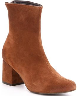 Cecile Leather Block Heel Mid Calf Booties