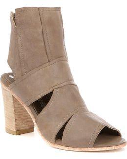 Effie Leather Peep Toe Side Cutout Stacked Block Heel Shooties