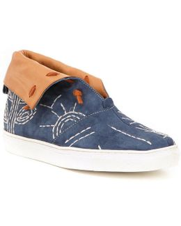 Gansvoort Leather Embroidered Slip On Fold Over Sneakers