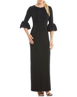 3/4 Bell-sleeve Column Gown