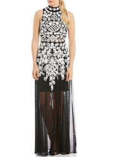 Beaded Illusion Mock Neck Gown