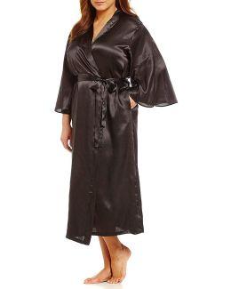 Pink Label Plus Long Charmeuse Wrap Robe