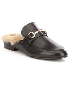 Jill Leather Faux Fur Lined Slip On Dress Mules