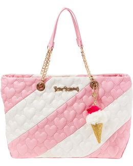Split Decision Heart-quilted Striped Tote
