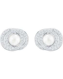 Elaborate Crystal & Faux-pearl Stud Earrings
