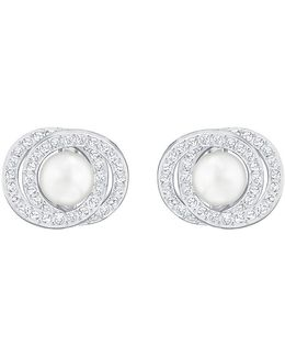 Elaborate Crystal & Faux-pearl Stud Earrings