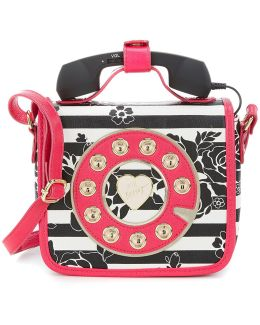 Striped Floral Mini Phone Cross-body Bag