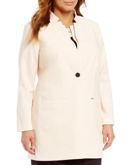 Plus Lux Long Jacket With Double Collar