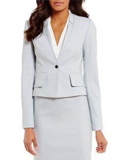 Petites Birdseye Stretch Suiting Notched V-neck Jacket