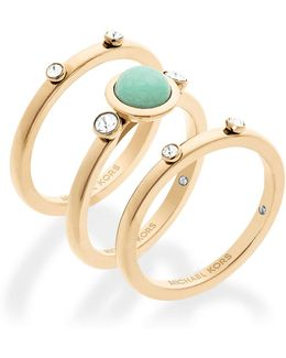 Easy Opulence Jade Stacked Ring Set
