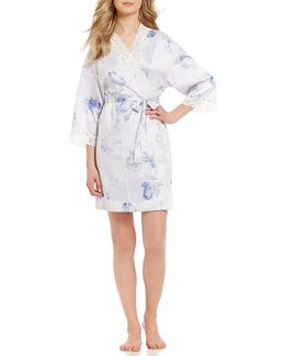 Signature Lace And Satin Floral Wrap Robe
