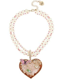 Faux-pearl Multi-strand Heart Pendant Necklace
