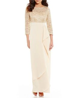 Long Sleeve Lace Bodice Ruffle Front Gown