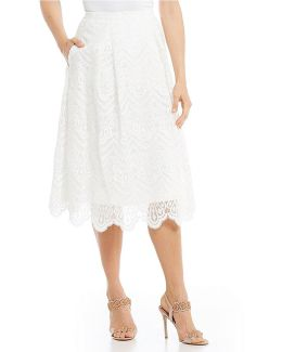 Embellished Organza Pleated Skirt
