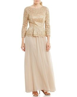 Embellished Lace Bodice Mock Two Piece Gown