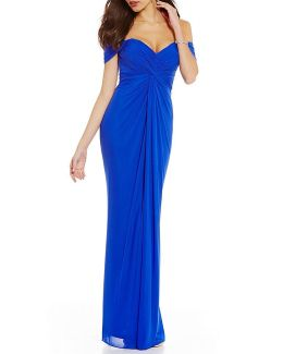 Off-the-shoulder Knot Front Gown