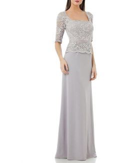 Lace Bodice Mock Two Piece Gown