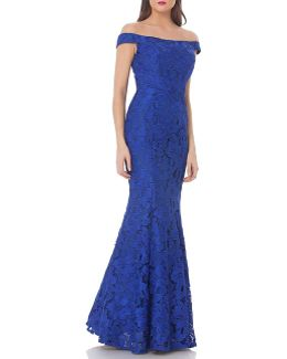 Lace Off-the-shoulder Trumpet Gown