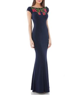 Embroidered Jersey Mermaid Gown