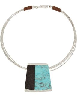 Turquoise & Wood Geometric Pendant Wire Collar Necklace