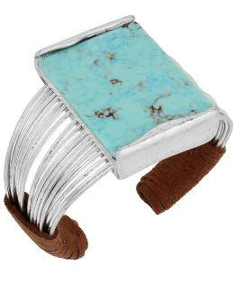 Turquoise & Suede Multi-row Cuff Bracelet
