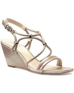 Farah Leather Metallic Ornament Slingback Banded Wedge Sandal