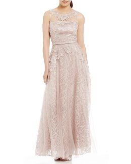Illusion Neck Embroidered Lace Ball Gown